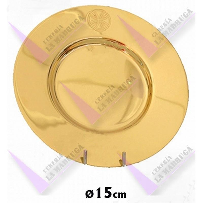 d48e2c9460e Patena Caliz Metal Dorada Cruz Grabada Borde Parte Superior 15cm Diametro