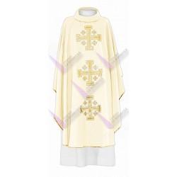 Casulla Bordada 3 Cruces De Jerusalen crema