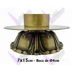 Candelero Bronce Dorado Grabado Con Estrias Y Cuatro Patas