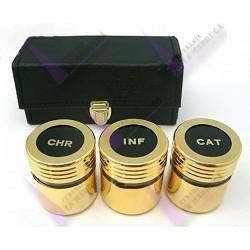 Crismera 3 Vasos Metal Dorado Y Cristal Con estuche Rectangular