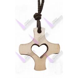 Cruz madera corazon calado y rayos